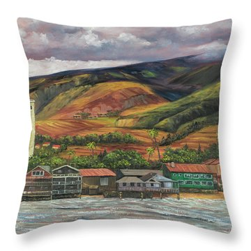 Throw Pillow featuring the painting Smokestack Lahaina Maui by Darice Machel McGuire