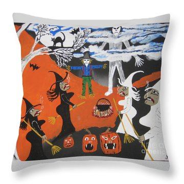 Smokey Halloween Throw Pillow