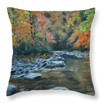 Smokey Mountain Autumn Throw Pillow