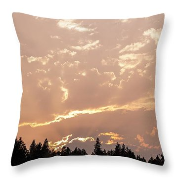 Smokey Skies Sunset Throw Pillow by Melanie Lankford Photography