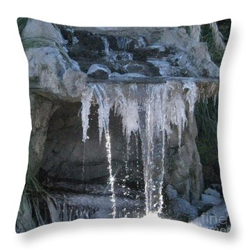 Smokey Stoves Frozen Falls Throw Pillow