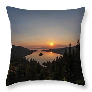 Smokey Sunrise At Emerald Bay Throw Pillow
