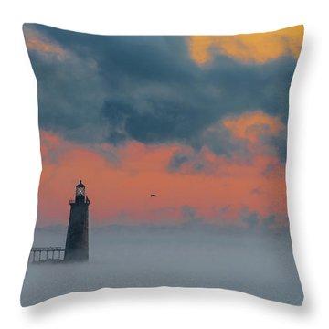 Smokey Sunrise At Ram Island Ledge Light Throw Pillow