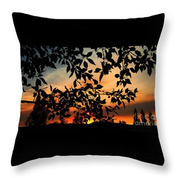 Smoked Filled Sunset Throw Pillow