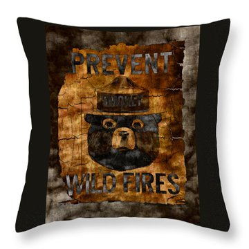 Smokey The Bear Only You Can Prevent Wild Fires Throw Pillow