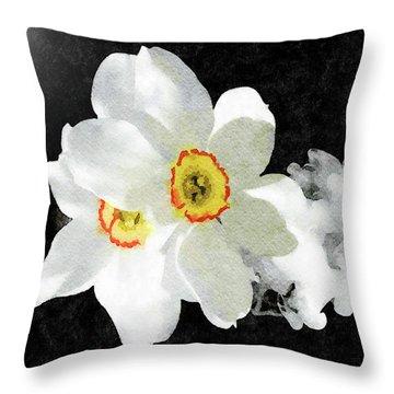 Smokey White Floral Throw Pillow