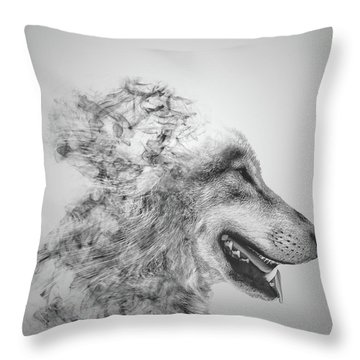 Smokey Wolf Throw Pillow