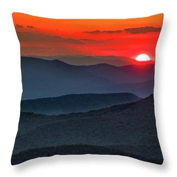 Smokies Sunset Throw Pillow