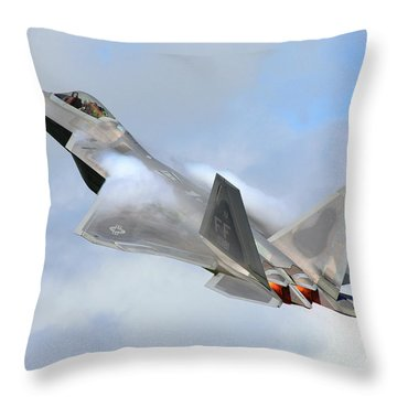 Throw Pillow featuring the digital art Smokin - F22 Raptor On The Go by Pat Speirs