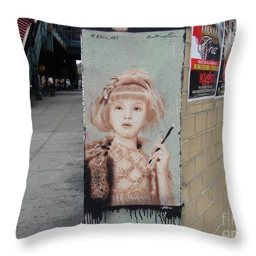 Smoking Girl  Throw Pillow by Cole Thompson