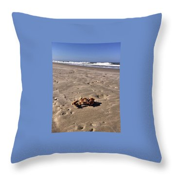 Throw Pillow featuring the photograph Smoking Kills Crab by Lisa Piper