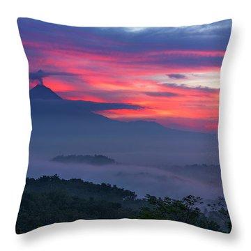 Smoking Volcano And Borobudur Temple Throw Pillow