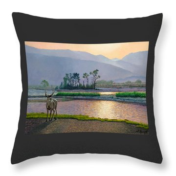 Smoky Morning Glitter Throw Pillow by Paul Krapf