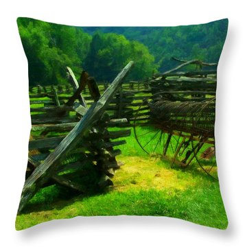 Smoky Mountain Farm 1900s Throw Pillow