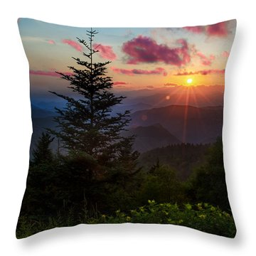 Smoky Mountain Sunset Throw Pillow by Christopher Mobley