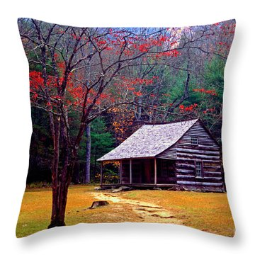 Smoky Mtn. Cabin Throw Pillow