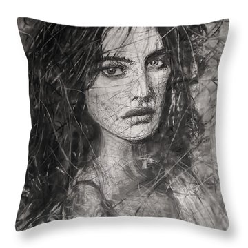 Smoky Noir... Ode To Paolo Roversi And Natalia Vodianova  Throw Pillow by Jarko Aka Lui Grande