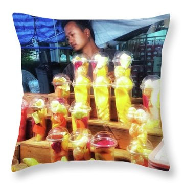 Throw Pillow featuring the photograph Smoothie Nirvana. Choose A Cup Of by Mr Photojimsf