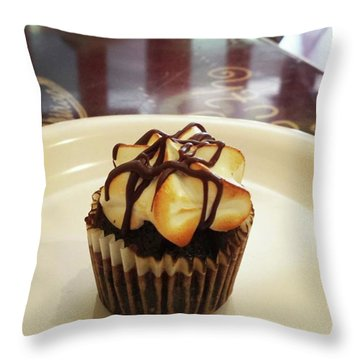 Throw Pillow featuring the photograph smore Miniature Cupcake N Coffee by Mr Photojimsf
