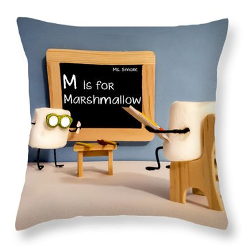 Smore School Throw Pillow by Heather Applegate