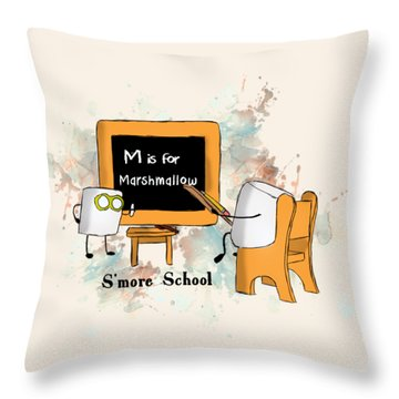 Throw Pillow featuring the digital art Smore School Illustrated by Heather Applegate