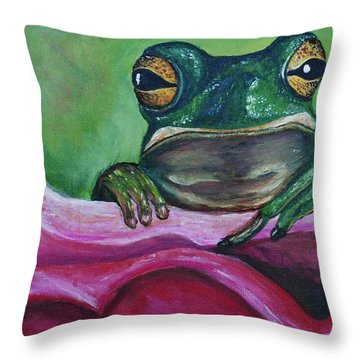 Throw Pillow featuring the painting Snack Time by Debbie Baker