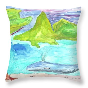 Snail And Whale Throw Pillow