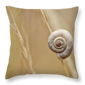 Snail On Autum Grass Blade Throw Pillow