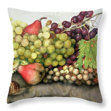 Snail With Grapes And Pears Throw Pillow by Giovanna Garzoni