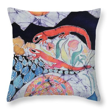 Snail With Red Efts Throw Pillow by Carol  Law Conklin
