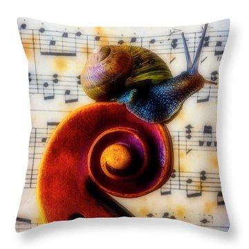 Snail With Sheet Music Throw Pillow