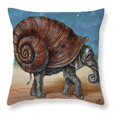 Snailephant Throw Pillow