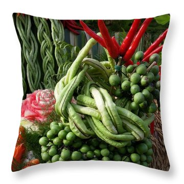 Throw Pillow featuring the photograph Snake Beans. At The Surin Elephant by Mr Photojimsf