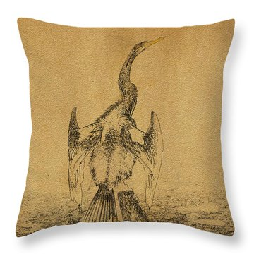 Snake Bird Or Darter  Throw Pillow