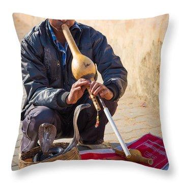 Snake Charmer Throw Pillow by Inge Johnsson