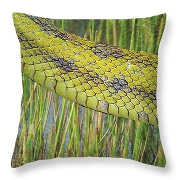 Throw Pillow featuring the digital art Snake In The Grass Textures by Richard Goldman