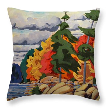 Snake Island In Fall-close Throw Pillow