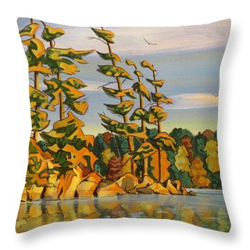 Snake Island In Fall Sunset Throw Pillow by David Gilmore