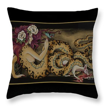 Snake Lady Throw Pillow
