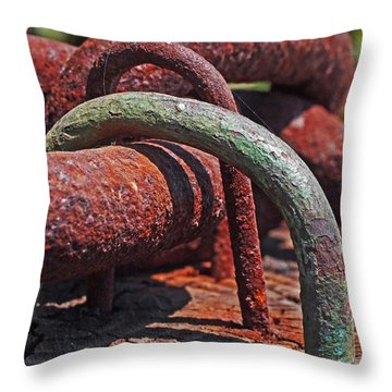 Snaking Rust  Throw Pillow by Rona Black