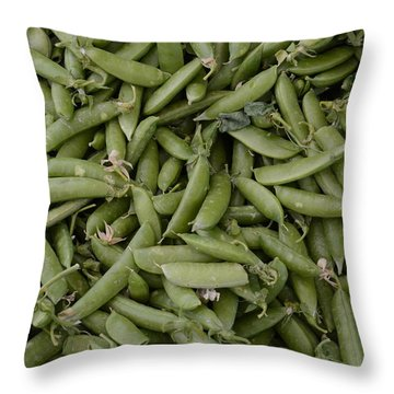 Snap Peas Throw Pillow