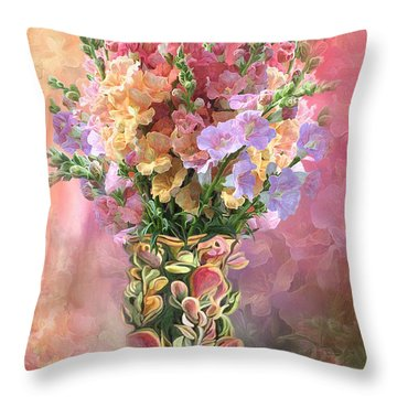 Snapdragons In Snapdragon Vase Throw Pillow by Carol Cavalaris