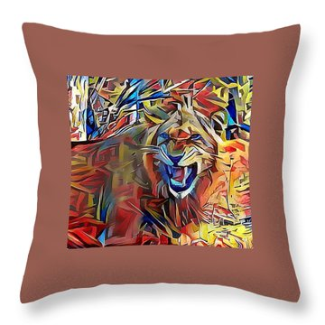 Snarling Lion Throw Pillow