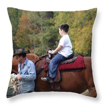 Sneaker Wearing Cowboy Throw Pillow by Kim Henderson