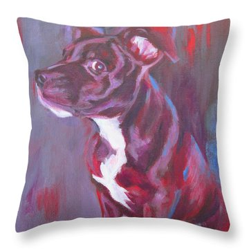 Sneaky Look - Staffy Throw Pillow