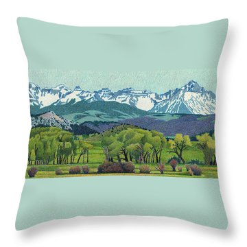 Sneffels Range Spring Throw Pillow