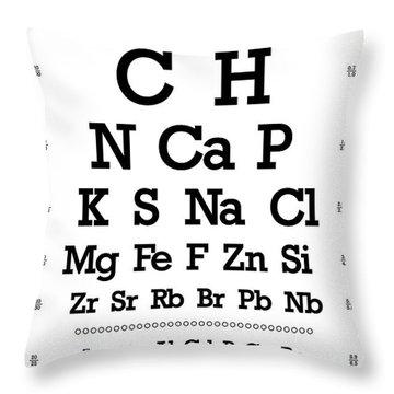 Snellen Chart - Chemical Abundance In Human Body Throw Pillow by Martin Krzywinski