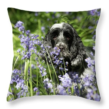 Sniffing Bluebells Throw Pillow