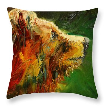 Sniffing For Food Bear Throw Pillow