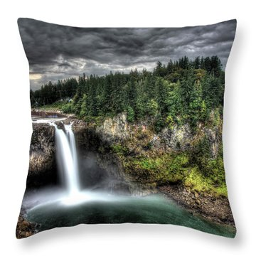Snoqualmie Falls Storm Throw Pillow